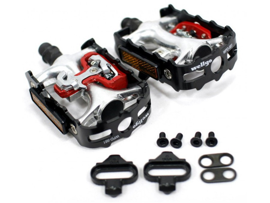 PEDALES WELLGO MIXTOS COMPATIBLES SPD SHIMANO - SPINNING