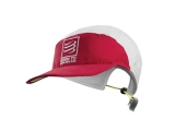 Run Cap - gorra Compressport born to swim bike run 2017 - blanca / roja